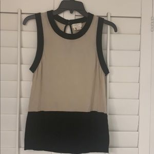 KATE SPADE Color Block Tan Top Black & Tan XL